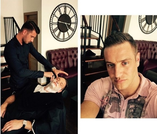 TOWIE star Elliott Wright ditches the beard after going to a barbers in Spain - 16 April 2015.