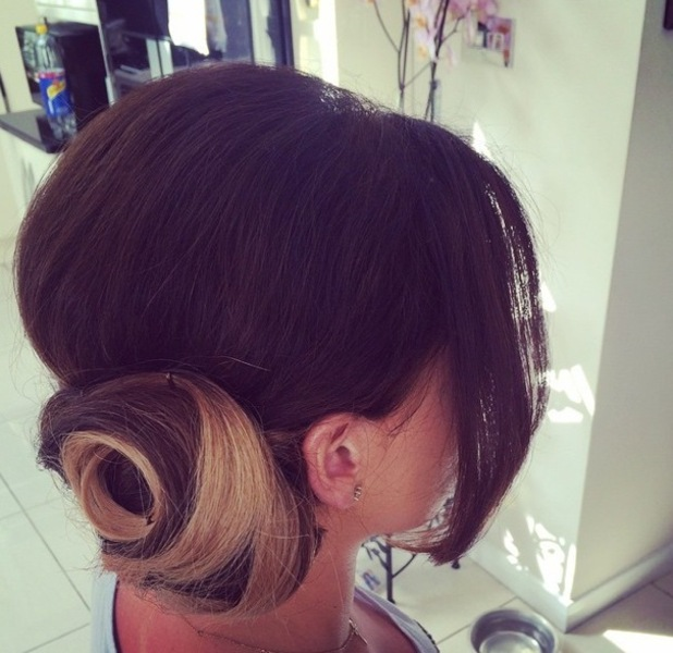 TOWIE's Jessica Wright shows off hair for Celebrity Juice on Instagram on 15 April 2015
