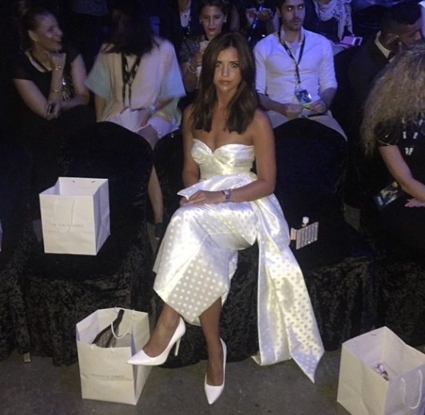 Lucy Mecklenburgh looks stunning in white at Fashion Forward in Dubai - 12 April 2015.