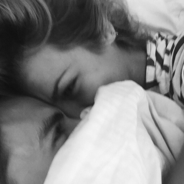 Oliver Proudlock and girlfriend Emma Connolly bed selfie, Instagram 17 April