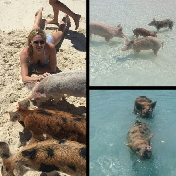 Stephanie Pratt on Piggy Island, Bahamas 15 April