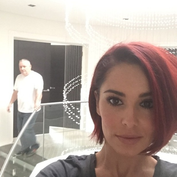 Cheryl Fernandez-Versini shows off colour refreshed hair and it looks much redder than normal, 15 April 2015
