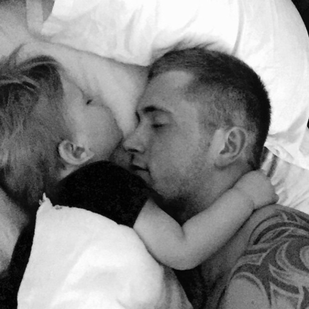 Dan Osborne and son Teddy have a snoozy cuddle, 16 April 2015