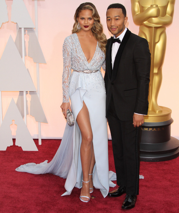 Chrissy Teigen and John Legend at the 87th Annual Oscars held at Dolby Theatre - Red Carpet Arrivals, 22 February 2015