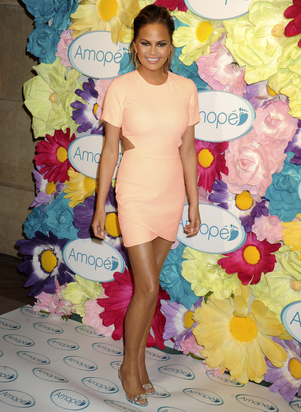 Chrissy Teigen attends the 'Glass-Slipper-Ready' pedicure event at Grand Central Terminal on March 5, 2015 in New York City.