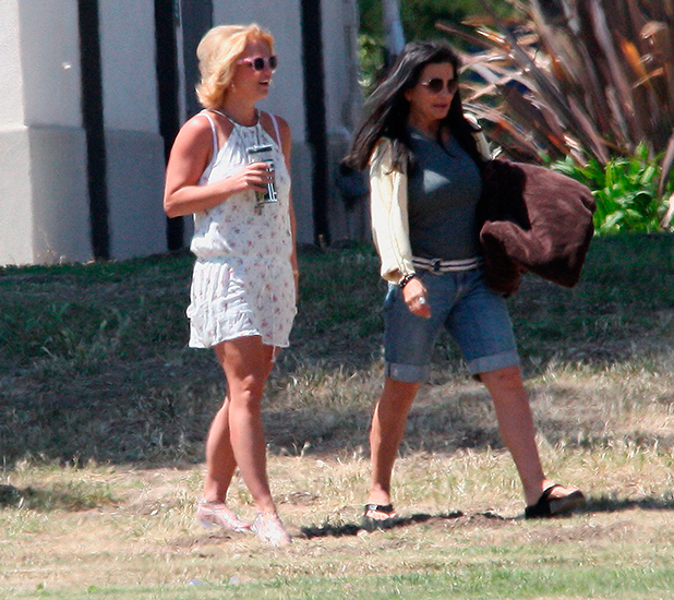 Britney Spears and her mother Lynn watching her eight-year-old son Jayden play soccer at a park in Calabasas, 12 April 2015