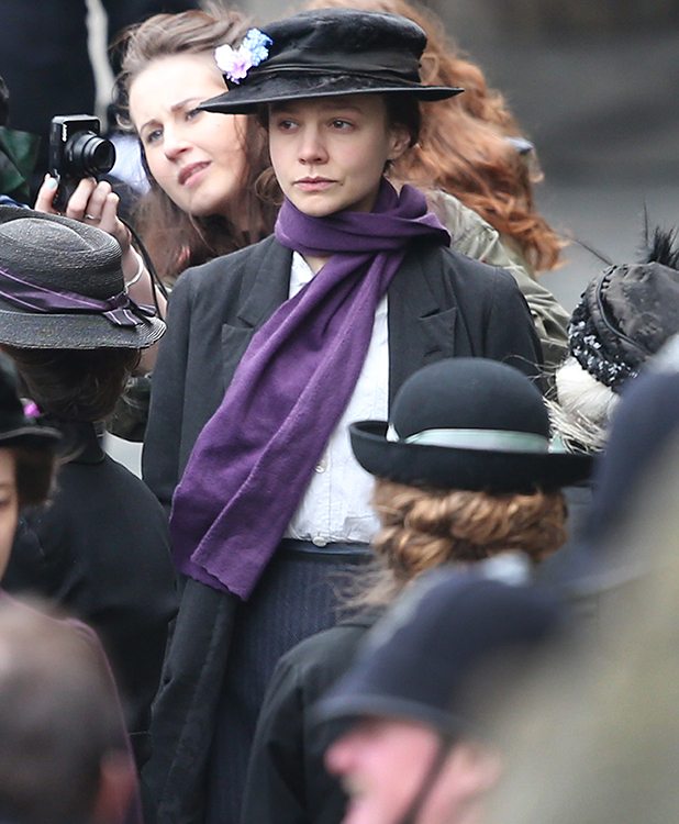Carey Mulligan takes part in filming of the movie Suffragette at Parliament on April 11, 2014 in London, England. This is the first time filming for a movie has been allowed in The Houses of Parliament. Suffragette is due for release in 2015.