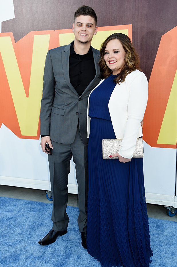 Tyler Baltierra (L) and Catelynn Lowell attend The 2015 MTV Movie Awards at Nokia Theatre L.A. Live on April 12, 2015 in Los Angeles, California.
