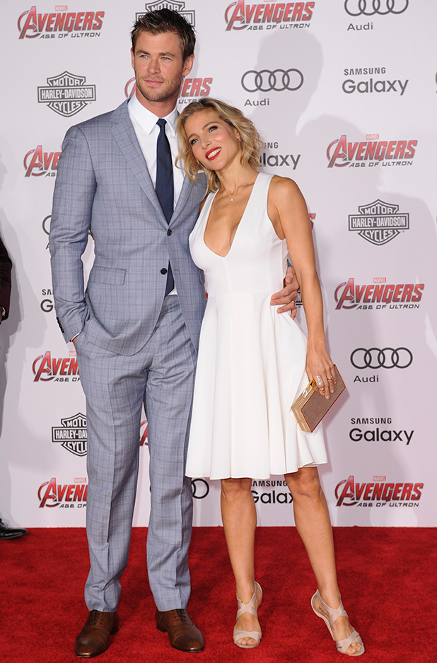 Chris Hemsworth and Elsa Pataky at Film Premiere of Avengers Age of Ultron, 13 April 2015