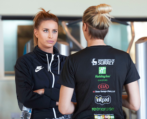 Ferne McCann and Tamsin Greenway train with Surrey Storm ahead of the Netball Superleague semi-finals live on Sky Sports. April 2015