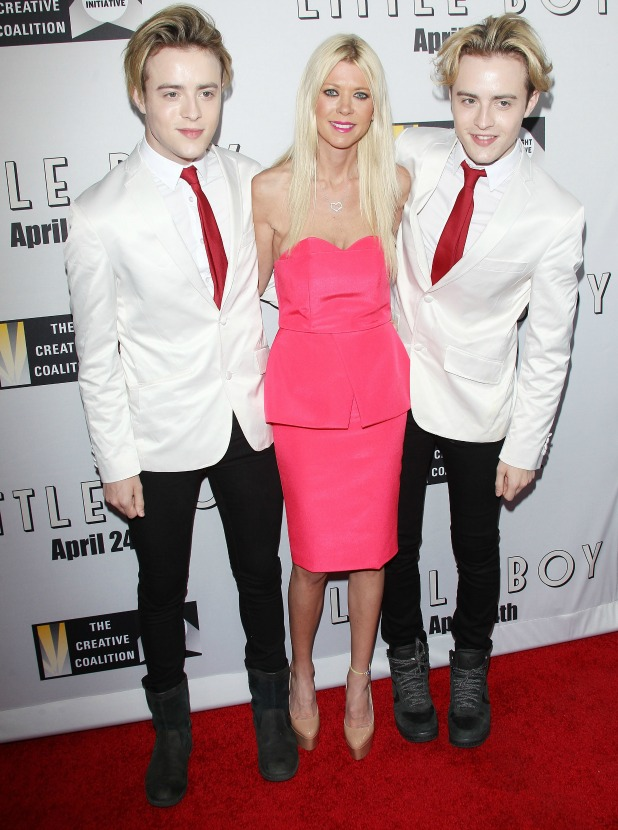 Jedward and Tara Reid arrive at the Los Angeles premiere of 'Little Boy' held at Regal Cinemas L.A. Live on April 14, 2015 in Los Angeles, California.