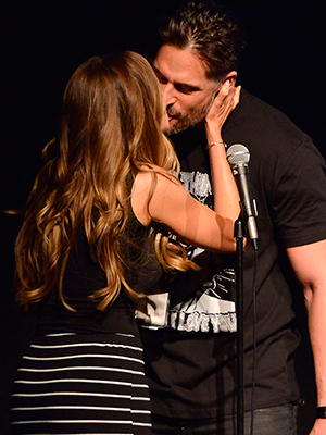 Sofia Vergara and Joe Manganiello perform at the Film Independent at LACMA Live Read of 'Major League' at Bing Theatre At LACMA on April 16, 2015 in Los Angeles, California.