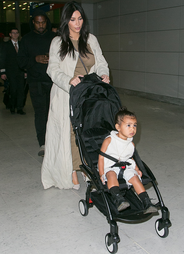 North West is seen at the Charles-de-Gaulle airport on April 14, 2015 in Paris, France.