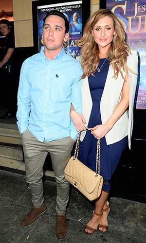 Catherine Tyldesley and Thomas Pitfield arrive at the Palace Theatre Manchester for the Press Night of 'Jesus Christ Superstar',13 April 2015