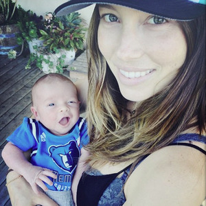 Jessica Biel holds baby son Silas in picture shared by Justin Timberlake, 19 April 2015