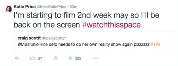 Katie Price tells fans she IS filming a new TV reality show, 25 April 2015