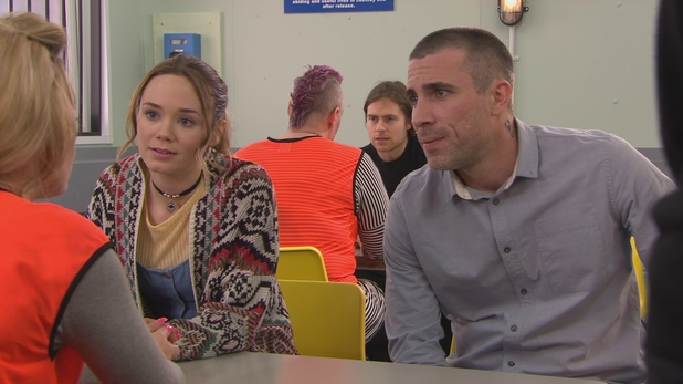 Hollyoaks, Kim and Trevor visit Grace, Wed 22 Apr