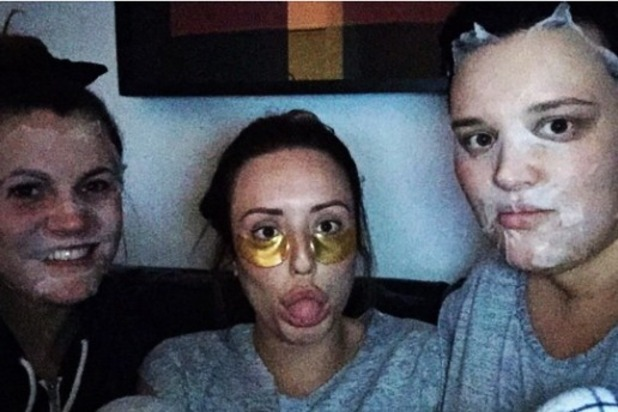 Charlotte Crosby has a pampering girlie session with her mates, 21 April 2015