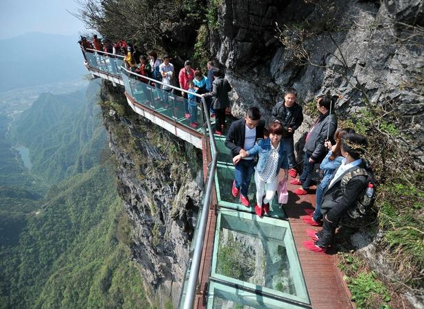 Glass sky walk on Tianman Mountain in China