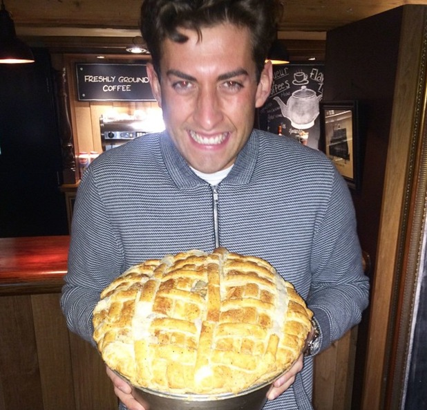 TOWIE's James 'Arg' Argent and Lydia Bright go for dinner in Manchester with Arg holding a massive pie - 20 April 2015.