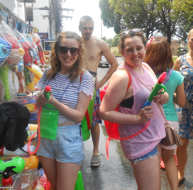 With our water pistols in Chiang Mai, 25/4/15