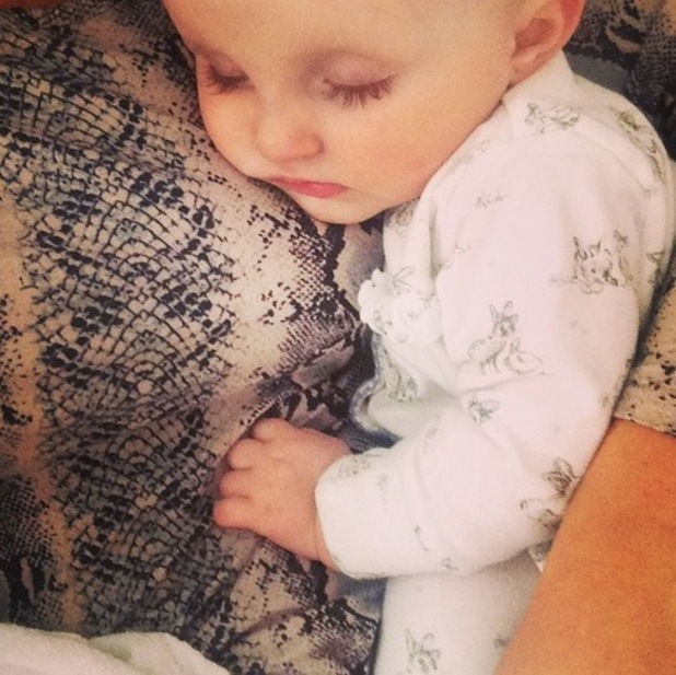Billie Faiers shares photo on Instagram of sleeping Nelly 21st April 2015