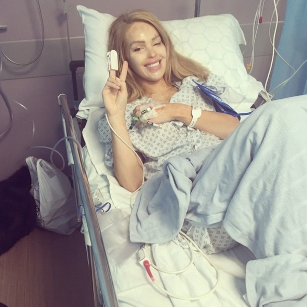 Katie Piper shares picture from hospital bed after undergoing further throat surgery - 22 April 2015.