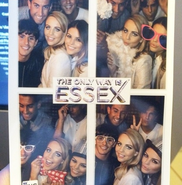 TOWIE's James 'Arg' Argent, Lydia Bright, Lewis Bloor, Chloe Lewis, Jake Hall have fun in the photo booth at wrap party - 22 April 2015.