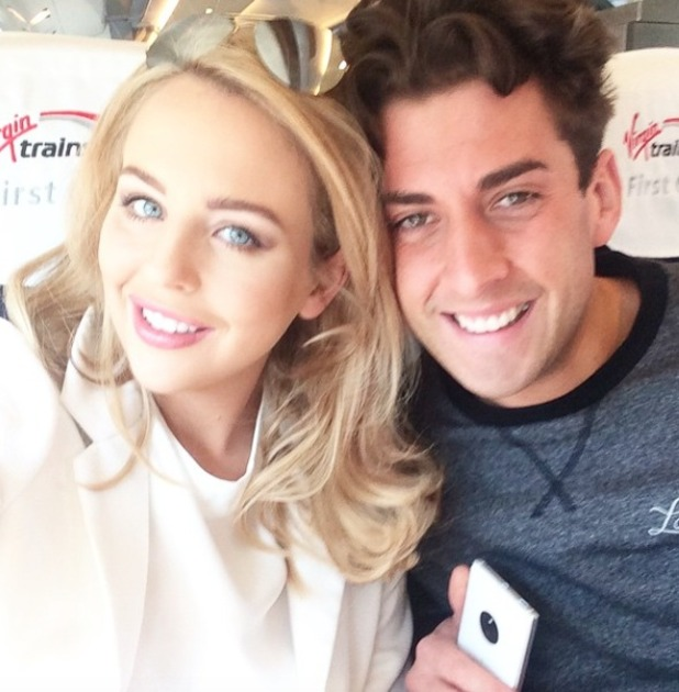 Lydia Bright poses with James (Arg) Argent on Virgin train bound for Manchester, 20 April 2015