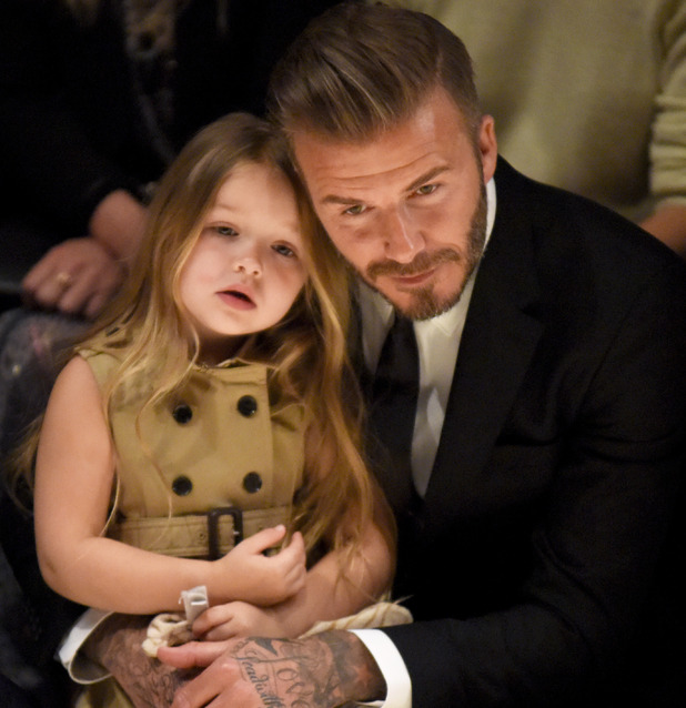 David Beckham and Harper attend Burberry Catwalk show, LA 16 April