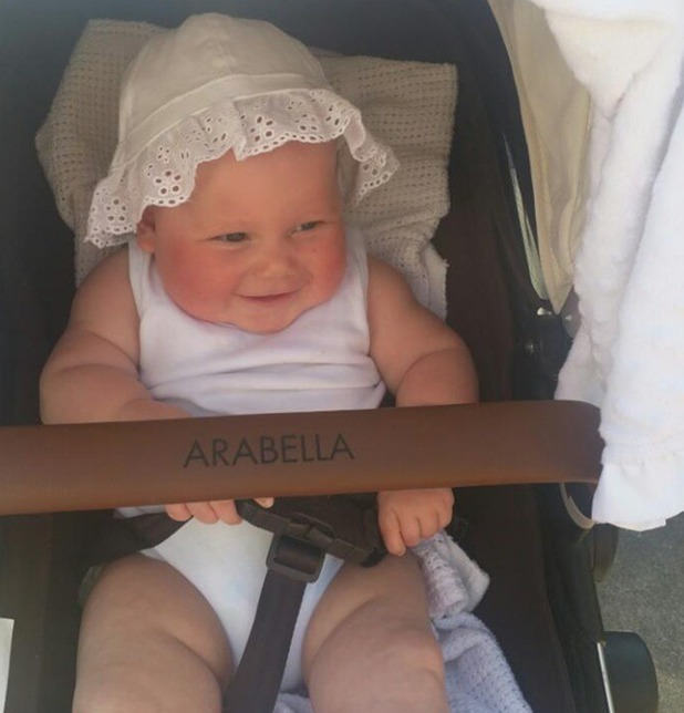 Rebecca Ferguson shares cute photo of daughter Arabella in a buggy during trip to the farm - 21 April 2015.