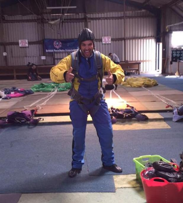 TOWIE's Ricky Rayment completes charity skydive for the Cure Parkinson's Trust - 21 April 2015.