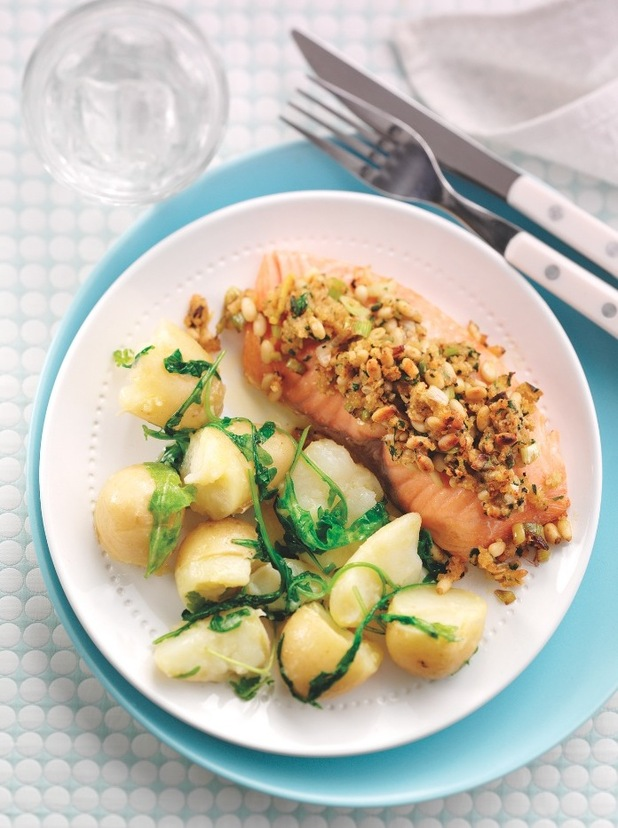 Pine Nut & Parsley-Crusted Salmon on Crushed Jersey Royals