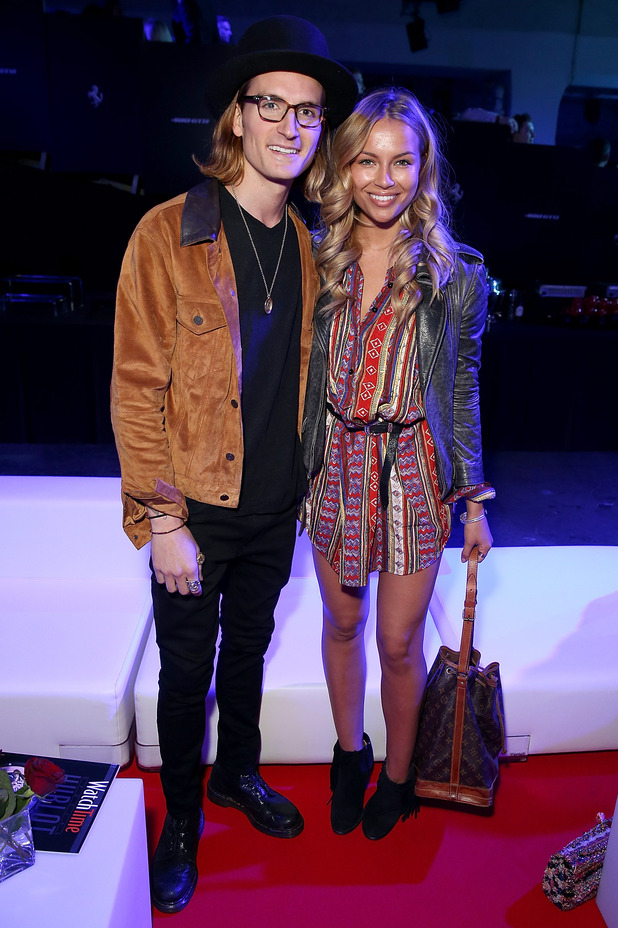 Oliver Proudlock and Emma Louise Connolly attend the UK launch event for the newest addition to Ferrari, the 488 GTB (#WORDSARENOTENOUGH) at The Old Sorting Office on April 23, 2015 in London, England.