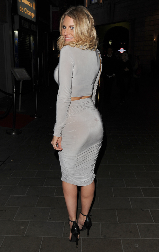 Danielle Armstrong shows off her outfit at The Only Way Is Essex wrap party, held at Blanca Bar in Soho - 22 April 2015.