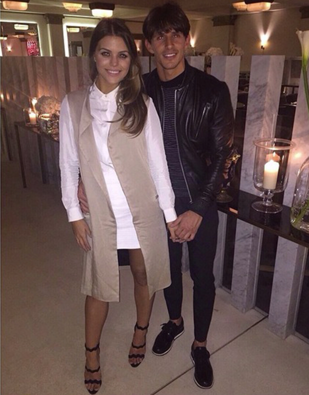 Chloe Lewis and Jake Hall hold hands at TOWIE wrap party, 22 April 2015