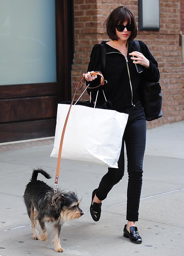 Dakota Johnson is seen walking her Dog Soho on April 19, 2015 in New York City.