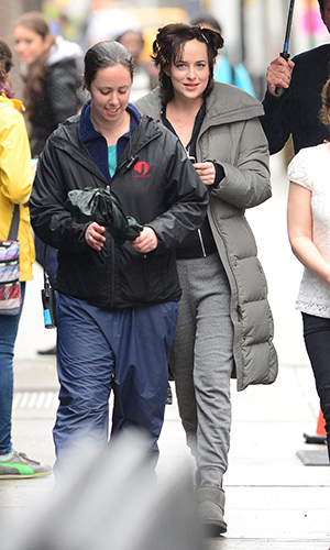 Dakota Johnson is seen on the set 'How To Be Single' on April 20, 2015 in New York City.
