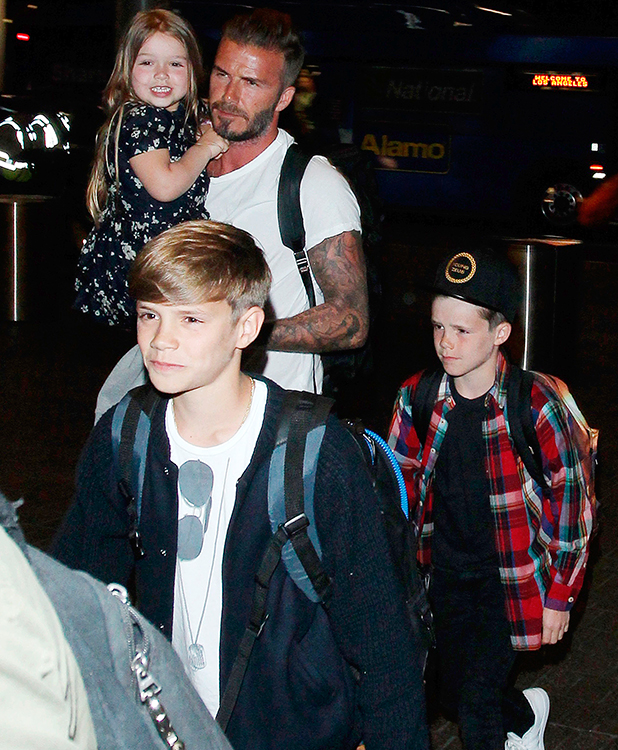 David Beckham and family depart from LAX Airport, Los Angeles, America - 19 Apr 2015