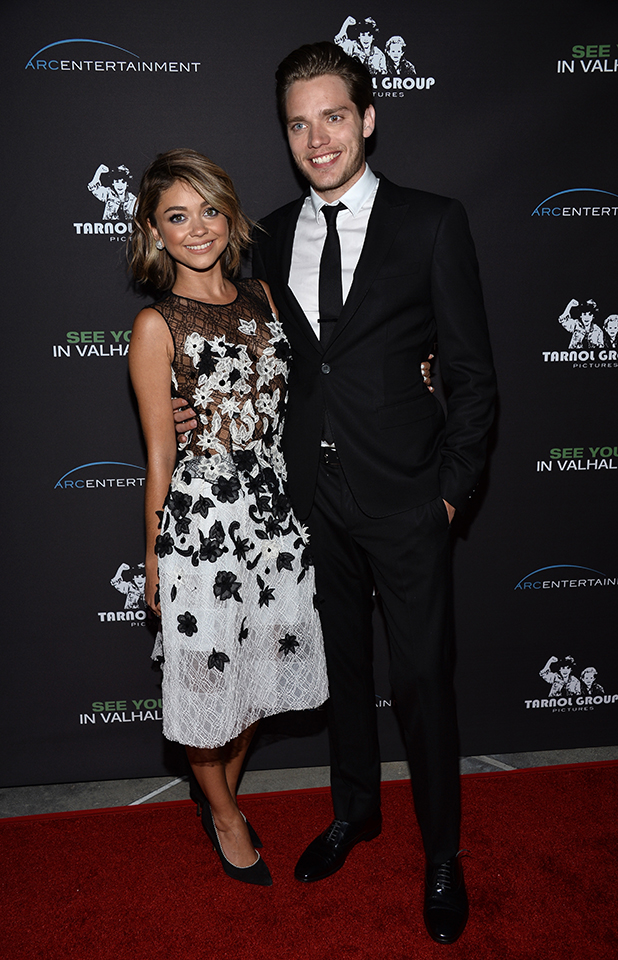 Sarah Hyland (L) and actor Dominic Sherwood arrive at the Los Angeles premiere of 'See You In Valhalla' at the ArcLight Cinemas on April 21, 2015 in Hollywood, California.