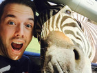 Take my zelfie! Business student gets selfie with a zebra!