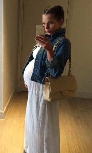 Pregnant Helen Flanagan shows off baby bump in maxi dress - 25 April 2015.