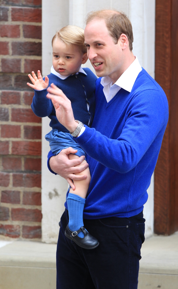 Prince William, Duke of Cambridge, arrives back at St Mary's hospital with his son Prince George, 2 May 2015