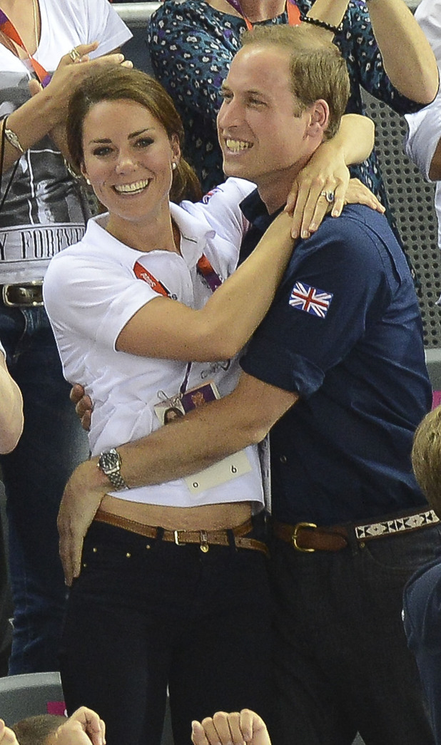 Catherine, Duchess of Cambridge aka Kate Middleton and Prince William, Duke of Cambridge during the Team Pursuit Track Cycling Qualifying on Day 6 of the London 2012 Olympic Games at Velodrome London, England - 02.08.12