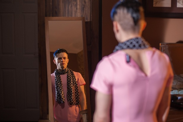 Hollyoaks, Dyland tries on a dress, Thu 30 Apr