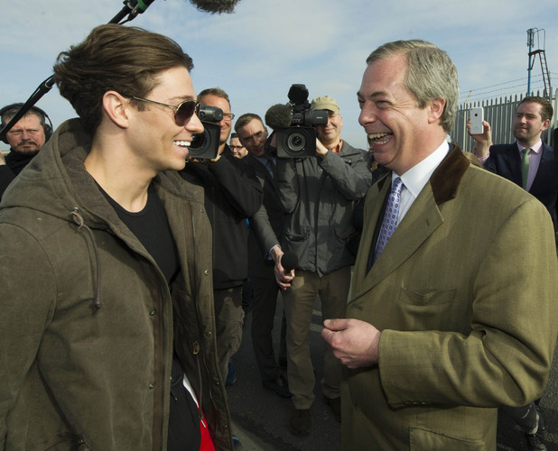 Joey Essex laughs with Nigel Farage
