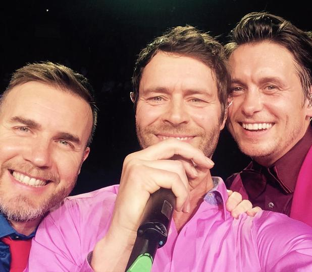 Take That's Gary Barlow, Mark Owen and Howard Donald take a selfie on first night of UK arena tour - 27 April.