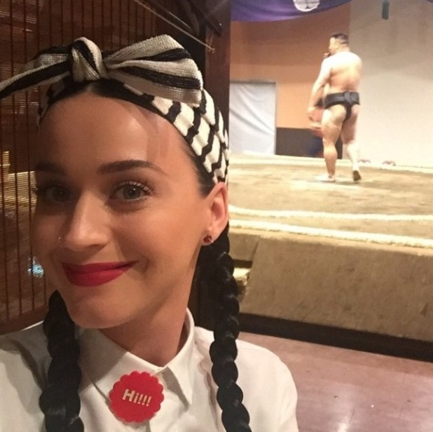 Katy Perry enjoys a spot of sumo wrestling in Tokyo - 25 April 2015.