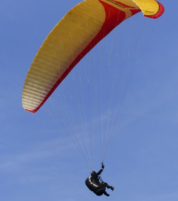 Paul Cox flies to work every morning on a paraglider