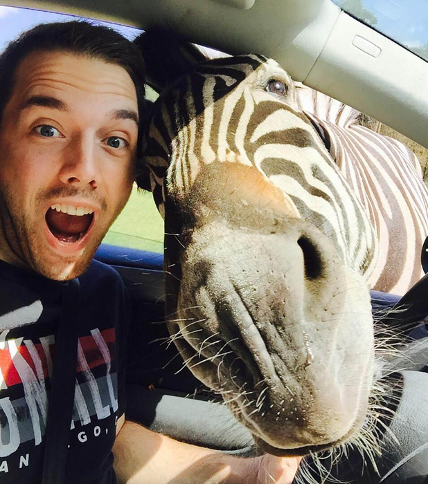 "Malte Woestefeld takes ""zelfie"" with a zebra at a safari park in Germany"